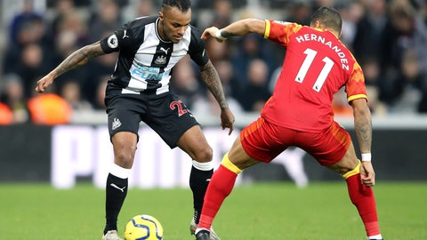 <p>               Newcastle United's Valentino Lazaro, left and Norwich City's Onel Hernandez battle for the ball, during the English Premier League soccer match between AFC Bournemouth and Aston Villa, at the Vitality Stadium, Bournemouth, England, Saturday, Feb. 1, 2020. (Mark Kerton/PA via AP)             </p>