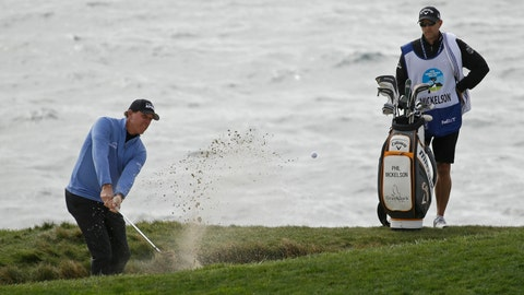 <p>               Phil Mickelson chips the ball out of a bunker up to the seventh green of the Pebble Beach Golf Links during the third round of the AT&T Pebble Beach National Pro-Am golf tournament Saturday, Feb. 8, 2020, in Pebble Beach, Calif. (AP Photo/Eric Risberg)             </p>