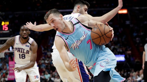 <p>               Miami Heat guard Goran Dragic (7) is fouled by Philadelphia 76ers guard Furkan Korkmaz during the second half of an NBA basketball game, Monday, Feb. 3, 2020, in Miami. The Heat won 137-106. (AP Photo/Lynne Sladky)             </p>