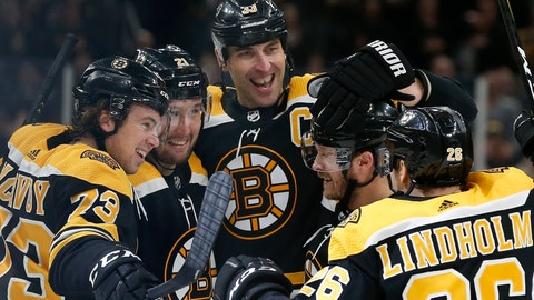 <p>               Boston Bruins' Nick Ritchie (21) celebrates his goal with Charlie McAvoy (73), Zdeno Chara (33), Par Lindholm (26) and Chris Wagner during the second period of an NHL hockey game against the Dallas Stars in Boston, Thursday, Feb. 27, 2020. (AP Photo/Michael Dwyer)             </p>