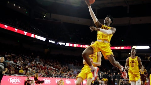 <p>               Southern California guard Jonah Mathews drives to the basket during the first half of an NCAA college basketball game against Arizona State Saturday, Feb. 29, 2020, in Los Angeles. (AP Photo/Marcio Jose Sanchez)             </p>