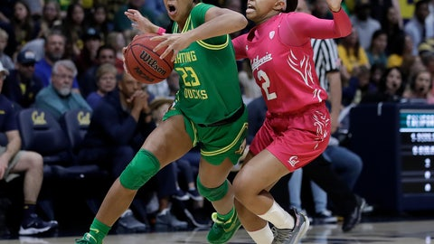 <p>               Oregon's Minyon Moore, left, drives the ball past California's Cailyn Crocker (2) during the first half of an NCAA college basketball game Friday, Feb. 21, 2020, in Berkeley, Calif. (AP Photo/Ben Margot)             </p>