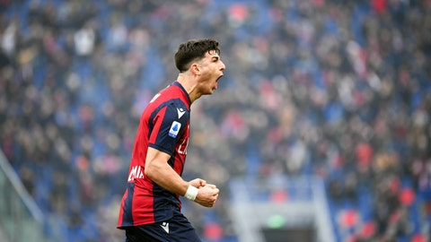 <p>               Bologna's Riccardo Orsolini celebrates after scoring his side's equalizing goal during a Serie A soccer match between Bologna and Brescia, in Bologna, Italy, Saturday, Feb. 1, 2020. (Massimo Paolone/LaPresse via AP)             </p>
