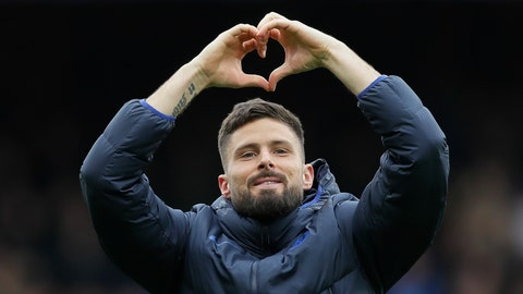 <p>               Chelsea's Olivier Giroud celebrates his team winning their English Premier League soccer match against Tottenham Hotspur in London, England, Saturday, Feb. 22, 2020. (AP Photo/Kirsty Wigglesworth)             </p>