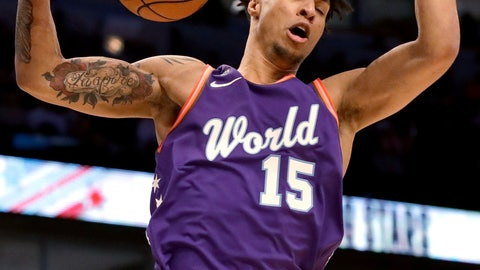 <p>               World forward Brandon Clarke, of the Memphis Grizzlies, dunks against the U.S. during the first half of the NBA Rising Stars basketball game in Chicago, Friday, Feb. 14, 2020. (AP Photo/Nam Y. Huh)             </p>