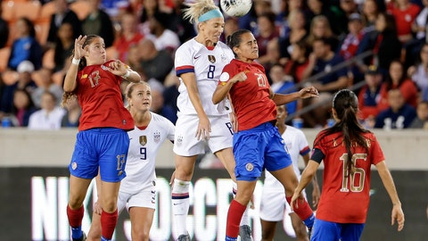 <p>               United States midfielder Julie Ertz (8) and Costa Rica midfielder Raquel Chacon (20) collide as they go for a header while Costa Rica forward Maria Salas (17), midfielder Lindsey Horan (9) and midfielder Katherine Alvarado (16) look on during the first half of a CONCACAF women's Olympic qualifying soccer match Monday, Feb. 3, 2020, in Houston. (AP Photo/Michael Wyke)             </p>