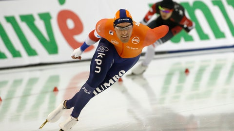 <p>               Netherlands' Kjeld Nuis competes in the men's 1,500 meters during the world single distances speedskating championships Sunday, Feb. 16, 2020, in Kearns, Utah. (AP Photo/Rick Bowmer)             </p>
