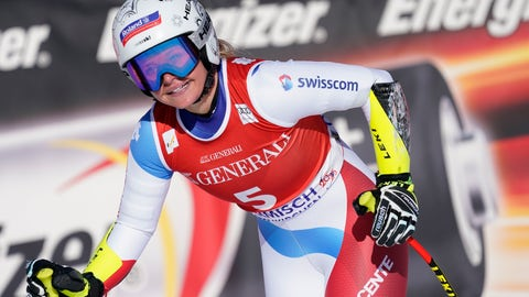 <p>               Switzerland's Corinne Suter reacts in the finish area of an alpine ski, women's World Cup super G, in Garmish Partenkirchen, Germany, Sunday, Feb. 9, 2020. (AP Photo/Giovanni Auletta)             </p>