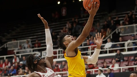 <p>               Arizona State guard Remy Martin, right, shoots next to Stanford guard Daejon Davis during the second half of an NCAA college basketball game in Stanford, Calif., Thursday, Feb. 13, 2020. (AP Photo/Jeff Chiu)             </p>