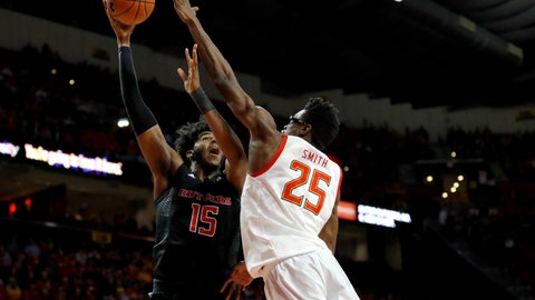 <p>               Rutgers center Myles Johnson (15) goes up for a shot against Maryland forward Jalen Smith (25) during the first half of an NCAA college basketball game Tuesday, Feb. 4, 2020, in College Park, Md. (AP Photo/Julio Cortez)             </p>