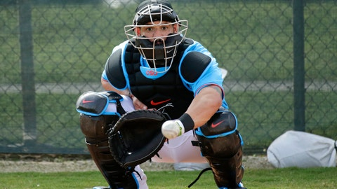 <p>               FILE - In this Feb. 12, 2020, file photo, Miami Marlins catcher Jorge Alfaro eyes the baseball during a spring training baseball workouts for pitchers and catchers at Roger Dean Stadium in Jupiter, Fla. Francisco Cervelli says he's fully recovered from his latest concussion, and Jorge Alfaro says he's feeling fitter after an offseason spent working on the farm and running sprints. At catcher, at least, the Miami Marlins appear in good shape. (David Santiago/Miami Herald via AP, File)             </p>