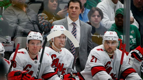 <p>               Carolina Hurricanes head coach Rod Brind'Amour watches his team play the Dallas Stars with left wing Erik Haula (56) center Ryan Dzingel (18) and right wing Nino Niederreiter (21) during the first period of an NHL hockey game in Dallas, Tuesday, Feb. 11, 2020. (AP Photo/Michael Ainsworth)             </p>
