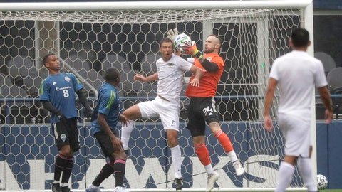 <p>               Seattle Sounders goalkeeper Stefan Frei, second from right, grabs the ball next to Sacramento Republic FC defender Dekel Keinan during the first half of a soccer scrimmage Wednesday, Feb. 5, 2020, in Seattle. (AP Photo/Ted S. Warren)             </p>