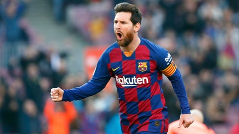 <p>               Barcelona's Lionel Messi celebrates after scoring his side's opening goal during a Spanish La Liga soccer match between Barcelona and Eibar at the Camp Nou stadium in Barcelona, Spain, Saturday Feb. 22, 2020. (AP Photo/Joan Monfort)             </p>