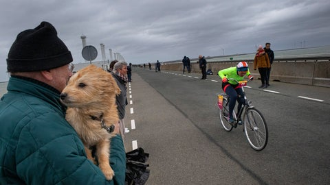 <p>               A competitor battles gale force winds during the Dutch Headwind Cycling Championships on the storm barrier Oosterscheldekering near Neeltje Jans, south-western Netherlands, Sunday, Feb. 9, 2020. (AP Photo/Peter Dejong)             </p>