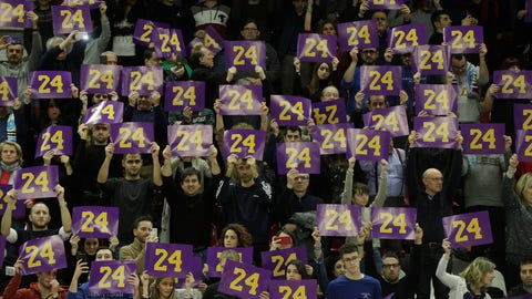 <p>               Spectators pay tribute to basketball legend Kobe Bryant prior to the start of the Italian Basketball second division match between Rieti and Scafati in Rieti's PalaSojourne, Italy, Wednesday, Feb. 5, 2020. Bryant spent seven years of his childhood in Rieti, where his father, Joe Bryant, made his Italian basketball debut in 1984 when Kobe was 6 years-old. (AP Photo/Gregorio Borgia)             </p>