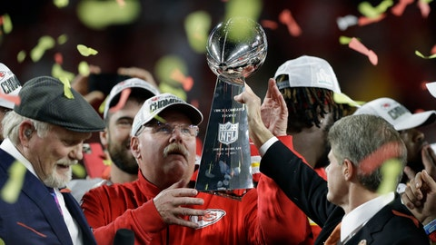 <p>               Kansas City Chiefs chairman Clark Hunt, right, hands the trophy to head coach Andy Reid after the chiefs defeated the San Francisco 49ers in the NFL Super Bowl 54 football game Sunday, Feb. 2, 2020, in Miami Gardens, Fla. (AP Photo/Chris O'Meara)             </p>