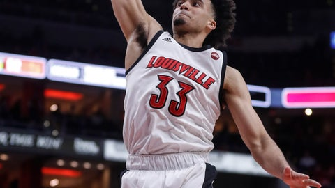 <p>               Louisville forward Jordan Nwora (33) dunks the ball during the second half of an NCAA college basketball game against Syracuse Wednesday, Feb. 19, 2020, in Louisville, Ky. Louisville won 90-66. (AP Photo/Wade Payne)             </p>
