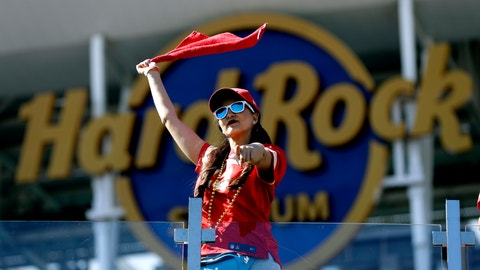 <p>               A Kansas City Chiefs fan celebrates before the NFL Super Bowl 54 football game between the Chiefs and the San Francisco 49ers, Sunday, Feb. 2, 2020, in Miami Gardens, Fla. (AP Photo/Chris O'Meara)             </p>