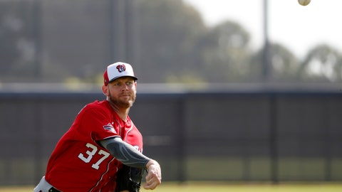 <p>               Washington Nationals pitcher Stephen Strasburg throws during spring training baseball practice Friday, Feb. 14, 2020, in West Palm Beach, Fla. (AP Photo/Jeff Roberson)             </p>