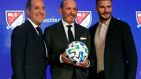 <p>               Inter Miami CF co-owners Jorge Mas, left, and David Beckham, right, pose for photos with Major League Soccer Commissioner Don Garber during the Major League Soccer 25th Season kickoff event, New York, Wednesday, Feb. 26, 2020. (AP Photo/Richard Drew)             </p>