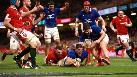 <p>               France's Paul Willemse, center, scores his side's second try of the game during the Six Nations match against Wales at the Principality Stadium, Cardiff, Wales, Saturday Feb. 22, 2020. (Adam Davy/PA via AP)             </p>