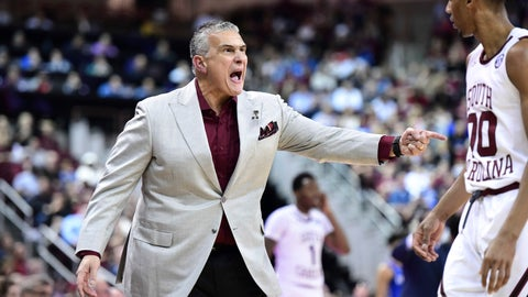 <p>               South Carolina coach Frank Martin yells to A.J. Lawson (00) during the first half of the team's NCAA college basketball game against Kentucky on Wednesday, Jan. 15, 2020, in Columbia, S.C. (AP Photo/Sean Rayford)             </p>