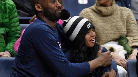 <p>               FILE - In this March 2, 2019, file photo Kobe Bryant and his daughter Gianna watch the first half of an NCAA college basketball game between Connecticut and Houston in Storrs, Conn. A public memorial service for Bryant, Gianna and seven others killed in a helicopter crash is planned for Monday, Feb. 24, 2020, at Staples Center in Los Angeles, a person with knowledge of the details told The Associated Press on Thursday, Feb. 6, 2020. (AP Photo/Jessica Hill, File)             </p>
