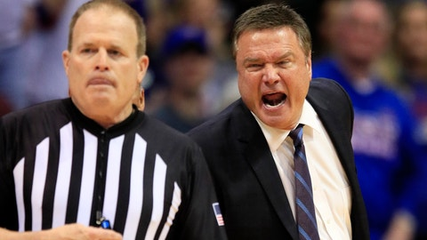 <p>               Kansas head coach Bill Self, right, yells at referee Gerry Pollard, left, during the second half of an NCAA college basketball game against Oklahoma in Lawrence, Kan., Saturday, Feb. 15, 2020. Kansas defeated Oklahoma 87-70. (AP Photo/Orlin Wagner)             </p>