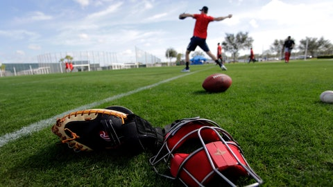 <p>               Boston Red Sox pitchers throw after reporting for spring training baseball Tuesday, Feb. 11, 2020, in Fort Myers, Fla. (AP Photo/John Bazemore)             </p>