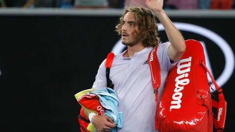 <p>               Greece's Stefanos Tsitsipas waves as he leaves the court following his third round loss to Canada's Milos Raoni at the Australian Open tennis championship in Melbourne, Australia, Friday, Jan. 24, 2020. (AP Photo/Andy Wong)             </p>