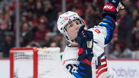 <p>               United States' Hilary Knight celebrates her goal against Canada during the third period of a Rivalry Series hockey game in Vancouver, British Columbia, Wednesday, Feb. 5, 2020. (Jonathan Hayward/The Canadian Press via AP)             </p>