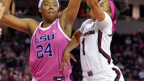 <p>               South Carolina's Zia Cooke (1) shoots while defended by LSU's Faustine Aifuwa during the first half of an NCAA college basketball game Thursday, Feb. 20, 2020, in Columbia, S.C. (AP Photo/Richard Shiro)             </p>