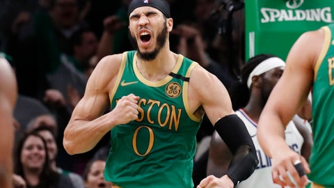 <p>               Boston Celtics forward Jayson Tatum (0) celebrates after his basket in the second overtime of an NBA basketball game against the Los Angeles Clippers, Thursday, Feb. 13, 2020, in Boston. (AP Photo/Elise Amendola)             </p>