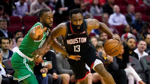 <p>               Houston Rockets' James Harden (13) drives toward the basket as Boston Celtics' Kemba Walker defends during the first half of an NBA basketball game Tuesday, Feb. 11, 2020, in Houston. (AP Photo/David J. Phillip)             </p>