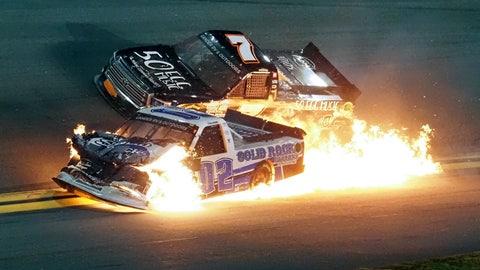 <p>               Tate Fogleman (02) and Korbin Forrister (7) crash between turns 3 and 4 during the NASCAR Truck Series auto race at Daytona International Speedway, Friday, Feb. 14, 2020, in Daytona Beach, Fla. (AP Photo/Darryl Graham)             </p>