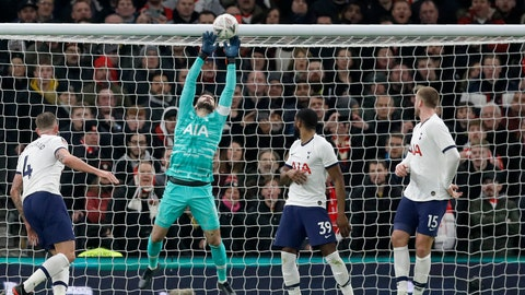 <p>               Tottenham's goalkeeper Hugo Lloris leaps for a save during the English FA Cup fourth round replay soccer match between Tottenham Hotspur and Southampton at the Tottenham Hotspur Stadium in London, Wednesday, Feb. 5, 2020. (AP Photo/Kirsty Wigglesworth)             </p>