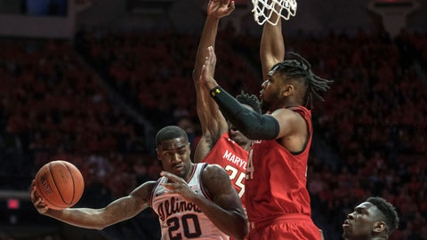 <p>               Illinois' DeMonte Williams (20) passes the ball under the basket around Maryland defender Donta Scott during the first half of an NCAA college basketball game Friday, Feb. 7, 2020, in Champaign, Ill. (AP Photo/Holly Hart)             </p>