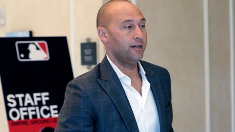 <p>               Derek Jeter CEO and part owner of the Miami Marlins leaves a meeting during MLB baseball owners meetings, Thursday, Feb. 6, 2020, in Orlando, Fla. (AP Photo/John Raoux)             </p>