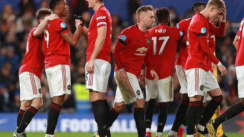 <p>               Manchester United's Anthony Martial, second left, is congratulated by teammates after scoring a goal during the English Premier League soccer match between Chelsea and Manchester United at Stamford Bridge in London, England, Monday, Feb. 17, 2020. (AP Photo/Ian Walton)             </p>