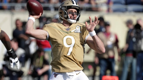 <p>               NFC quarterback Drew Brees, of the New Orleans Saints, (9) looks to pass, during the first half of the NFL Pro Bowl football game, Sunday, Jan. 26, 2020, in Orlando, Fla. (AP Photo/John Raoux)             </p>