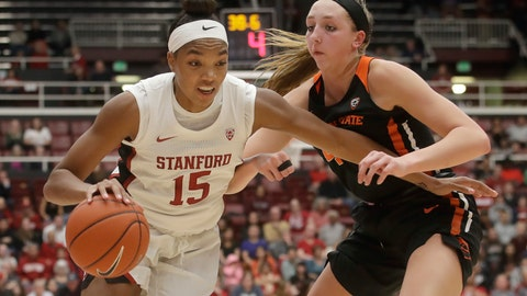 <p>               Stanford forward Maya Dodson (15) drives against Oregon State forward Taylor Jones during the second half of an NCAA college basketball game in Stanford, Calif., Friday, Feb. 21, 2020. (AP Photo/Jeff Chiu)             </p>