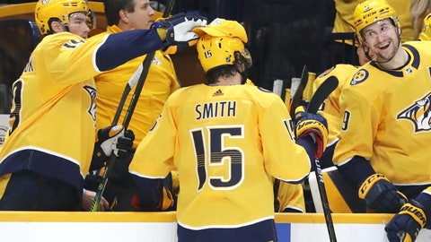 <p>               Nashville Predators' Calle Jarnkrok (19), left, of Sweden, puts a cap on right wing Craig Smith (15) after Smith scored his third goal for a hat trick against the New York Islanders in the second period of an NHL hockey game Thursday, Feb. 13, 2020, in Nashville, Tenn. Predators left wing Filip Forsberg (9), also of Sweden reacts. (AP Photo/Mark Humphrey)             </p>