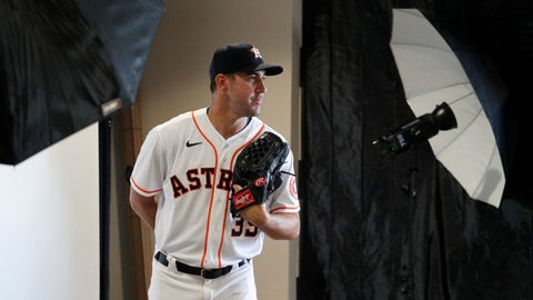 <p>               Houston Astros pitcher Justin Verlander poses for a photographer during photo day before a spring training baseball practice Tuesday, Feb. 18, 2020, in West Palm Beach, Fla. (AP Photo/Jeff Roberson)             </p>