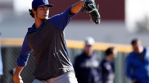 <p>               Chicago Cubs pitcher Yu Darvish throws during a spring training baseball workout Wednesday, Feb. 12, 2020, in Mesa, Ariz. (AP Photo/Gregory Bull)             </p>