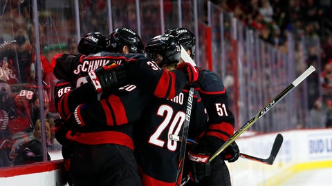 <p>               The Carolina Hurricanes celebrate a goal by Andrei Svechnikov during the second period of an NHL hockey game against the New Jersey Devils in Raleigh, N.C., Friday, Feb. 14, 2020. (AP Photo/Karl B DeBlaker)             </p>