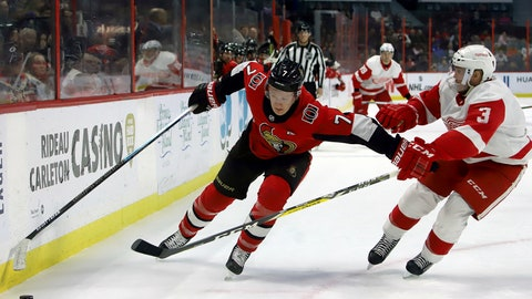 <p>               Ottawa Senators left wing Brady Tkachuk (7) and Detroit Red Wings defenseman Alex Biega (3) vie for control of the puck during second period NHL hockey action in Ottawa, Saturday, Feb. 29, 2020. (Fred Chartrand/The Canadian Press via AP)             </p>