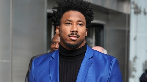 <p>               FILE - In this Nov. 20, 2019, file photo, Cleveland Browns star defensive end Myles Garrett leaves an office building in New York. Suspended Browns star defensive end Myles Garrett met Monday, Feb. 10, 2020, with NFL Commissioner Roger Goodell to discuss his possible reinstatement, a person familiar with the meeting told The Associated Press. (AP Photo/Seth Wenig, File)             </p>