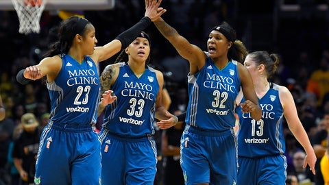 <p>               FILE - In this Oct. 16, 2016, file photo, members of the Minnesota Lynx, from left, Maya Moore, Seimone Augustus, Rebekkah Brunson and Lindsay Whalen celebrate during the second half in Game 4 of the WNBA Finals against the Los Angeles Sparks in Los Angeles. Augustus has left the Lynx after 14 seasons to join the Los Angeles Sparks. The All-WNBA guard Augustus was a key piece of four championship teams in Minnesota, which drafted her with the first overall pick out of LSU in 2006. With Moore on hiatus from the sport and Whalen and Brunson retired, the Lynx are in rebuilding mode.(AP Photo/Mark J. Terrill, File)             </p>
