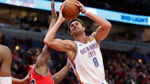 <p>               Oklahoma City Thunder's Danilo Gallinari (8) shoots over Chicago Bulls' Adam Mokoka during the first half of an NBA basketball game Tuesday, Feb. 25, 2020, in Chicago. (AP Photo/Charles Rex Arbogast)             </p>